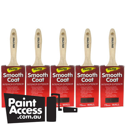 Paint Brushes/ Pack of 5 Uni-Pro Smooth Coat Wall Brushes, 75mm