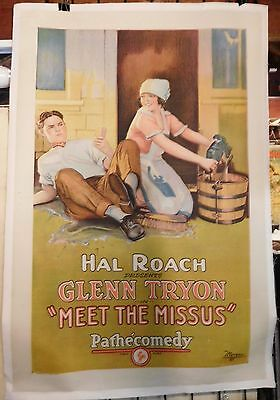 Meet the Missus 1924 stars Glenn Tryon Hal Roach Studio one sheet linenbacked