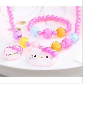 Hello Kitty Kids Jewellery Necklace Bracelet Ring Set Pack Pink Pearl Necklace