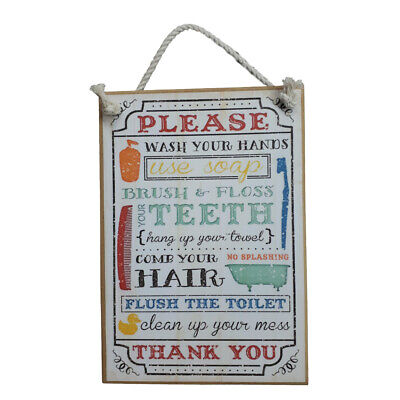 Country Printed Quality Wooden Sign WASH YOUR HANDS, BATHROOM Plaque New Inspire