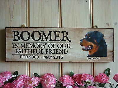 Rottweiler Memorial Sign In Memory Dog Sign Hand Made Memorial Plaque Garden Rip