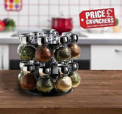 16 Piece Revolving Glass Herbs Spice Jar Rack Carousel Kitchen Rotating Stand