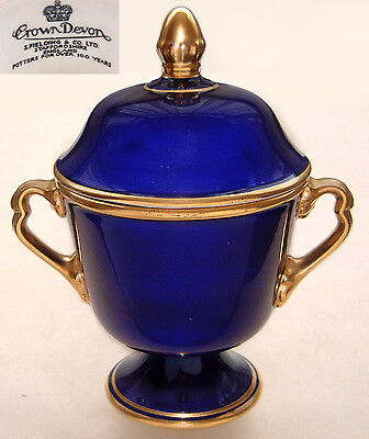 "Crown Devon (S. Fielding): Cobalt Blue & Gilt Lidded Urn: 8½"" Tall x 5"" Dia."