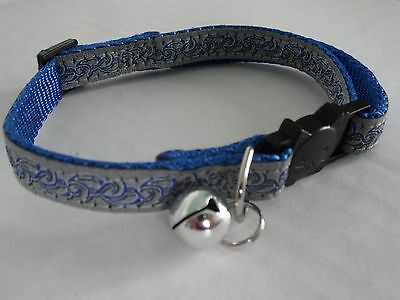 Blue Cat Collar, Cat Safety Collar with Bell, Quick Release Collar