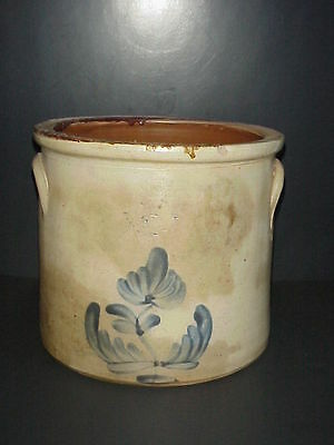 Antique 2 Gallon Stoneware Crock Blue Cobalt Flower