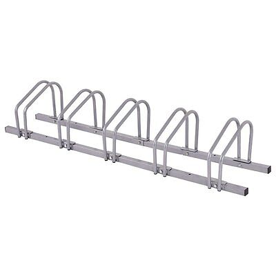 Adjustable Bike Rack 5 Bicycle Floor Parking Stand Storage Silver New