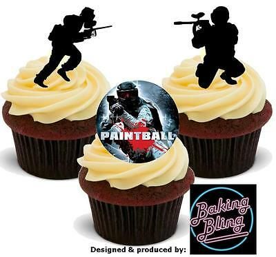 12 Novelty Paintball Mix STAND UP Edible Cake Toppers Cupcake Decorations Fun