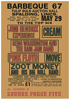 Hendrix Pink Floyd Cream The Move Concert Poster 1967