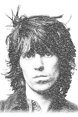 Keith Richards Poster - Made Up Of Rolling Stones Song Titles - 3 Sizes