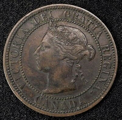 1882 H Canada Large Cent 1C Queen Victoria Key Date Better Grade