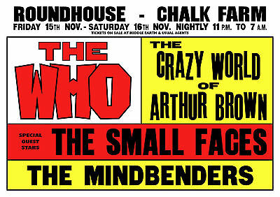 Small Faces Concert Poster Chalk Farm Roundhouse North London 1968