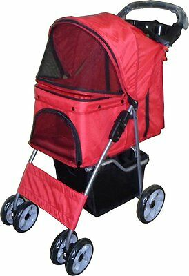 Foldable Pet Stroller Pushchair Cat Dog Travel Carry Jogger Buggy Wheels Bike