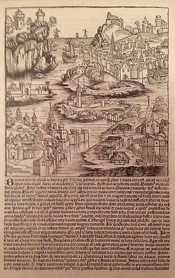 Liber Chronicarum - The Nuremberg Chronicle - ORIGINAL Illustrated Leaf - 1493