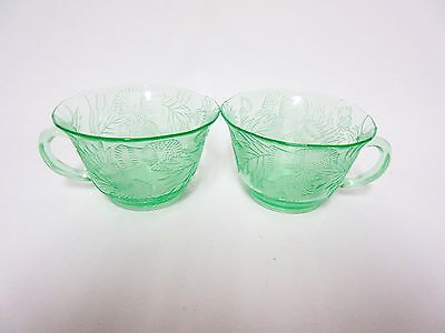 2 Green Thistle Hard To Find Cups / MacBeth Evans Co