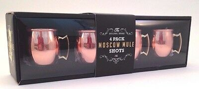 The Original Brand - 4 Pack Moscow Mule Shot Mugs Copper Plated Stainless Steel
