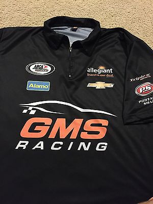 GMS RACING Pit Crew Shirt Team Issue NASCAR ARCA Chevrolet Large L Rare