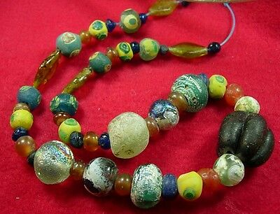 49 Ancient  Roman Glass & Crystal & carnelian stone beads set #2 • CAD $441.00
