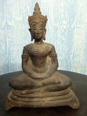 Antique 19th Century Thai Ayutthaya Bronze Buddha in Meditating Mudra-27.50cm