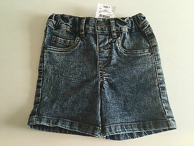 BNWT Little Boys Sz 1 H & T Brand Cool Blue Acid Wash Stretch Denim Shorts