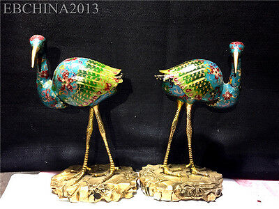"12"" Rare Chinese Collect Hand-made Bronze Gild Colored Enamel Birds Statue Pair"