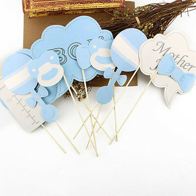 10pcs Baby Boy Mini Mister Shower Photo Booth Props Party Decorations in Blue