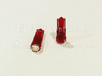 10x T5 74 Wedge Universal Red SMD LED Light Bulbs Dash Instrument Cluster HVAC