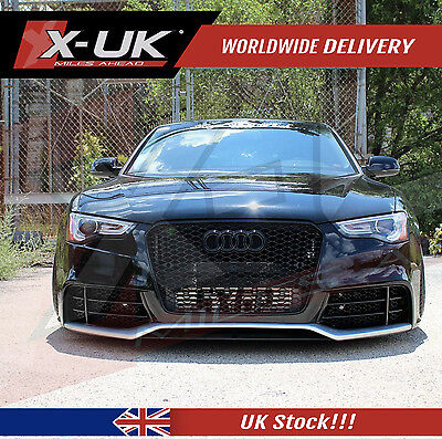 Rs5 Style Front Grill Gloss Black With Silver Edge For Audi A5 S5 2012 - 2015