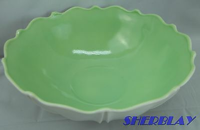 Oyster & Pearl Springtime White Vitrock Fired on Green Anchor Hocking Glass Bowl