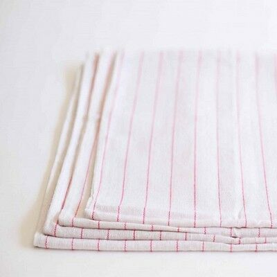 6 100% Cotton Towels Red Stripes Dish Glass Towels Lint Free Flour Sack Towel