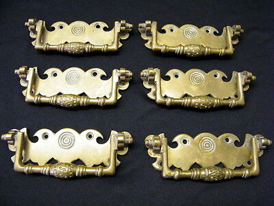 Vintage Brass Furniture Cabinet Drawer Pull Handles / 6 Pieces Drawer Hardware