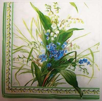 "TWO (2) Paper Napkins Decoupage Floral LILY OF THE VALLEY Pearl whites 13"" x 13"""