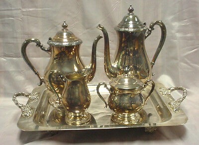 International Silver Co. Camille Silver Plated 4 Piece Tea/coffee Set With Tray