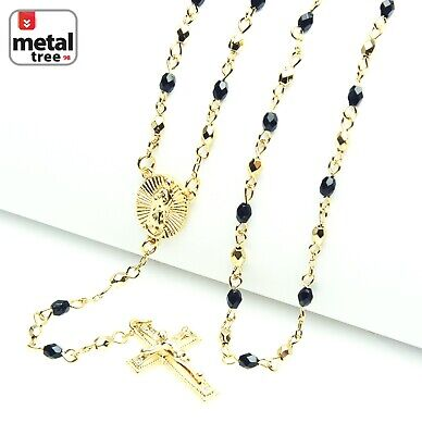 """14k Gold Plated 4mm Bead Guadalupe & Jesus Cross 25"""" Rosary Necklace HR 700 GBK"""