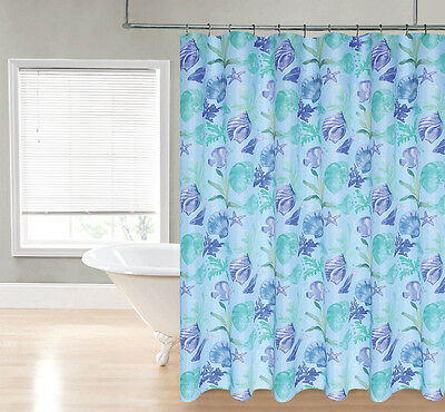 Aqua, Blue and Green Ocean Shells and Fish Theme Fabric Shower Curtain