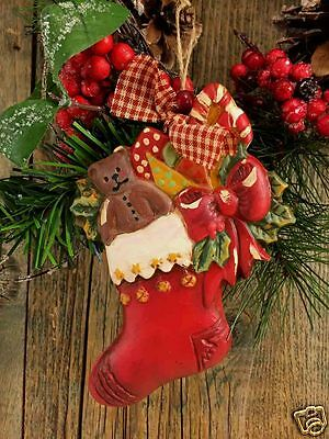 """Beeswax Ornament Hand Painted Child's Stocking - 4.5"""" x 6""""  FREE SHIPPING"""