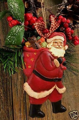 """Beeswax Ornament Hand Painted Santa with Sack - 3.5"""" x 6""""  FREE SHIPPING"""