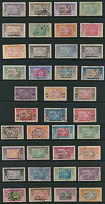 FRENCH IVORY COAST 1913-34 EBRIE LAGOON + SURCHARGES + NEW CURRENCY VFU..cv £165