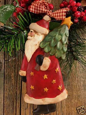 """Beeswax Ornament Hand Painted Country Santa - 5.5"""" x 6""""  FREE SHIPPING"""