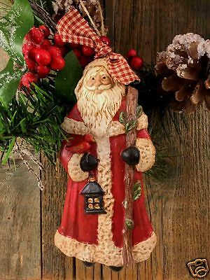 """Beeswax Ornament Hand Painted Santa with Staff - 4.5"""" x 6""""  FREE SHIPPING"""