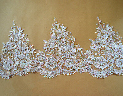 """Floral Corded Wedding Edging 8 """" Ivory Embroidered Bridal Lace Trim Ribbon"""