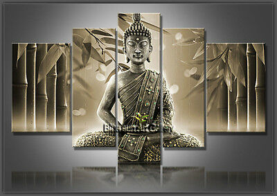 Hand Painted Modern Feng Shui Buddha Oil Painting on Canvas Wall Art Framed FX29