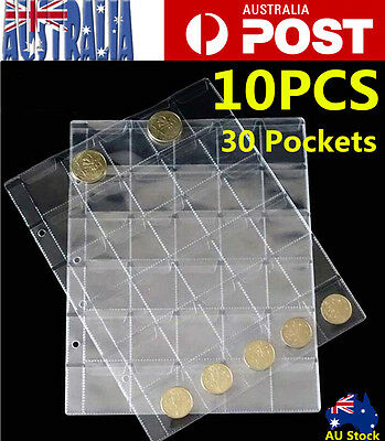10pcs 30 Pockets Plastic Coin Page Holders Storage Collection Money Album Sheets
