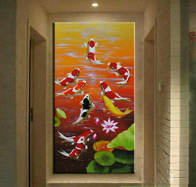 Large MODERN ABSTRACT OIL PAINTING Feng Shui Fish Koi Canvas wall Art Framed B66