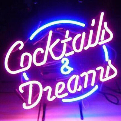 """17""""x14"""" Cocktails And Dreams Real Glass Neon Light Signs Beer Bar Pub Display"""