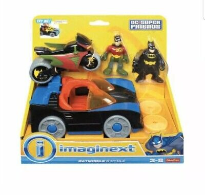 Imaginext Batmobile Batman Figure DC Super Friends Gotham Batcave Boy BFT61 NEW!
