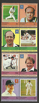 TUVALU Nukulaelae 1984 CRICKETERS Set 8 Values MNH