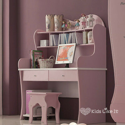 MIA Girls Pink Wooden 1200MM Princess Study Student Computer Desk with Hutch NEW