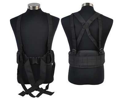 MOLLE Load Bearing Tactical Army Military Padded Belt & Adjustable Suspenders BL