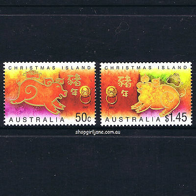 2007 - Australia - Christmas Island - Zodiac Year of the Pig set of 2 - MNH