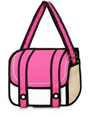 3D Jump Style Bag, Shoulder bag with Animation/Cartoon effect, PINK (ox1)
